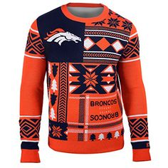 Denver Broncos Forever Collectibles KLEW Patches Ugly Sweater Sizes S-XXL w/ Priority Shipping  https://allstarsportsfan.com/product/denver-broncos-forever-collectibles-klew-patches-ugly-sweater-sizes-s-xxl-w-priority-shipping/  Officially Licensed Woven Graphics Throughout Rib Knit Collar, Cuffs and Waist
