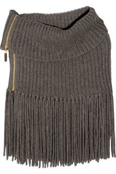 GUCCI Fringed alpaca and wool-blend poncho. The zip solve the problem of limited needle bed length!