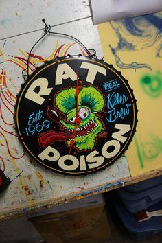 "Hand painted Garage Clock""Rat Poison"", tattoo , Ratfink, pinstriping, hotrod"