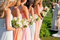Greg and Brynn's Kindergarten Love Story by @True Photography Weddings | Bridesmaids in the Laura dress in shades of Peach Fuzz, Blush, & HInt of Mint