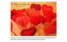 Especial San Valentín! Preciosos corazones de porcelana fría para armar candy kabobs / pinchos golosineros de souvenirs