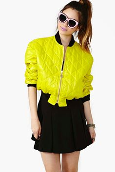 Moschino Ignite Bomber Jacket Black pleaded skirt Pink vintage glasses-Love this color!!! lol