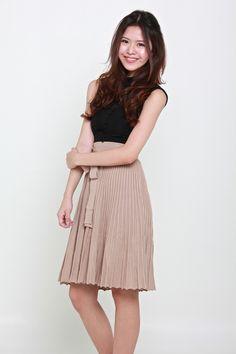 DIVA PLEATED KNIT SKIRT - BEIGE – Bella Blizz Knit Skirt, Midi Skirt, Diva, Slip On, Beige, Knitting, Fabric, Skirts, Model