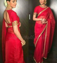 Kajal# Sabyasachi # red classic look # Indian fashion # sari Silk Saree Blouse Designs, Saree Blouse Patterns, Fancy Blouse Designs, Trendy Sarees, Stylish Sarees, Dress Indian Style, Indian Dresses, Indian Wear, Indian Outfits