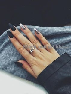 60 Trendy Gel Nail Arts Fashion Ideas To Try Now Gel Nail Designs Gel Nail Ideas… - Nageldesign Matte Nails Glitter, Matte Black Nails, Black Nail Art, Matte Almond Nails, Almond Shape Nails, Black Manicure, Short Almond Nails, Silver Sparkle Nails, Glitter Accent Nails