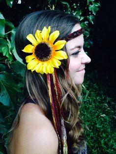 Tribal+Brown+Yarn+Braid+with+Sparkle+Ribbon+Gypsy+by+GypsyHalos,+$24.00