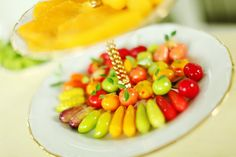 Kanom Look Choup (Imitated miniature fruit: Sweet bean in miniature fruit shape coated with gelatin)