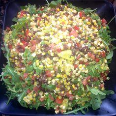 Roasted corn salad w/ arugula