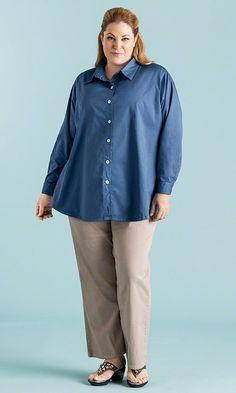 Updated Boyfriend Shirt in Riviera / MiB Plus Size Fashion for Women / Summer Fashion / Plus Size Basic http://www.makingitbig.com/product/4988