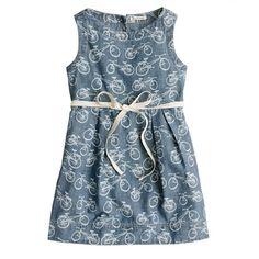 jcrew girls' bicycle print chambray dress