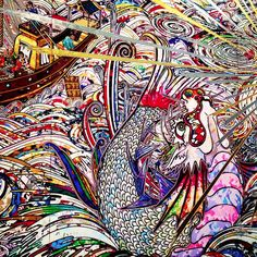 "Close up from ""In the Land of the Dead, Stepping on the tail of a Rainbow "" exhibition - Takashi Murakami"