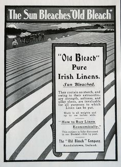 """This is a very rare advert published in 1905 for The """"Old Bleach"""" Company, Randalstown, Ireland. Linen Company, Places Of Interest, Throughout The World, Northern Ireland, Dna, Bleach, Irish, Old Things, Pure Products"""