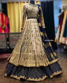 Looking for a budget lehenga store in Delhi? Check out the collection by Ricco India. Lehenga prices start from INR and they even do banarasi lehengas. Indian Wedding Gowns, Desi Wedding Dresses, Indian Gowns Dresses, Pakistani Bridal Dresses, Pakistani Dress Design, Pakistani Outfits, Indian Outfits, Indian Long Gowns, Punjabi Wedding