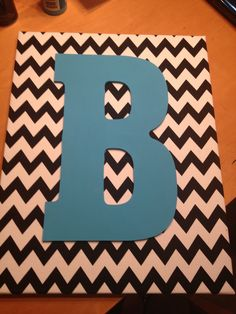 canvas board, chevron fabric, wooden, painted letter