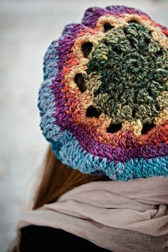 Daisy Stripe Tam pattern by Rose Rogers; part of the Neighborhood Knits & Crochets Too: 2014 Rose City Yarn Crawl Pattern Collection eBook available on Ravelry. Photography by Joanna Schilling of Ember Owl Photography.