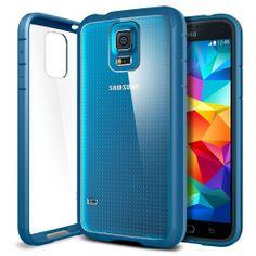 Amazon: Spigen® [AIR CUSHION] [+Screen Shield] Samsung Galaxy S5 Case Bumper **New Release** ULTRA HYBRID [Electric Blue] Air Cushion...