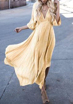 Maxi robe longue drapé irrégulière v-cou femme mode hippie jaune