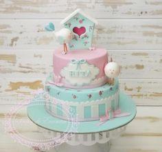 Shabby chic bird house - Cake by Sonhos de Encantar by Sónia Neto - CakesDecor Baby Cakes, Baby Shower Cakes, Girl Cakes, Fondant Cakes, Cupcake Cakes, Shabby Chic Cakes, 1st Birthday Cakes, House Cake, Just Cakes