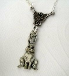 Woodland Bunny Rabbit Charm Necklace by lucindascharms on Etsy, $15.00