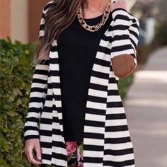 Black and white strip cardigan-2- Super chic, size L in this listing. Size s/m/l available. Elbow suede-like fabric patch attached. Stretchable. Nwot Sweaters Cardigans