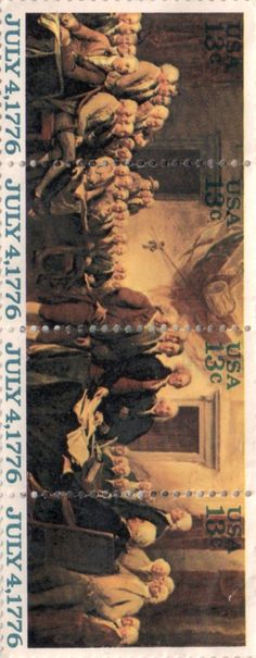US Postage stamp, 13 cents.  Signing of the Declaration of Independence on July 4, 1776.  Issued 1976.  Scott catalog 1691 to 1694.