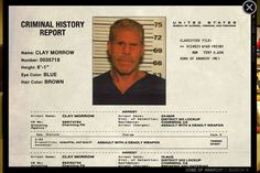 """Clarence """"Clay"""" Morrow History - Sons of Anarchy #ClayMorrow #RonPerlman…"""