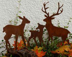 Waldszene - Waldtiere Hirsch Reh & Kitz  Stecker Blumenkasten Herbst Xmas Rost