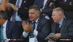 Sam Allardyce was pictured in the stands in Colchester alongside his assistant Sammy Lee