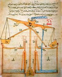Diagram of a hydropowered water-raising machine from The Book of Knowledge of Ingenious Mechanical Devices by Al-Jazari in 1206.