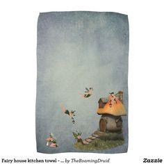 Fairy house kitchen towel - green
