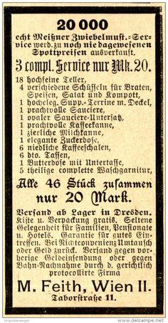 Original-Werbung/ Anzeige 1898 : MEISSNER ZWIEBELMUSTER - SERVICE / FEITH - WIEN…