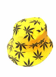 Hand Made Cannabis Leaf Bucket Hat - Yellow 50 g 35 cm x 21 cm Cotton Reversible Choice of inner fabric Lightweight Washable Hand Made Snapback, Bucket Hat, Leaves, Yellow, Hats, Fabric, Cotton, Handmade, Tela