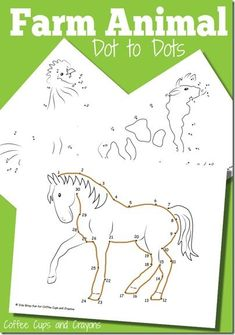 FREE Farm Animals Dot to Dot Worksheets for Kids! These are great for preschool, kindergarten, and 1st grade kids for fall or spring farm unit. SUPER CUTE!