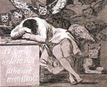 """""""El sueno de la Razon produce Monstruos"""" (The sleep of reason produces monsters) (c. 1799), Francisco Goya"""