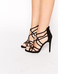 I AM IN LOVE...  Enlarge Miss KG Freya Black Multi Strap Heeled Sandals