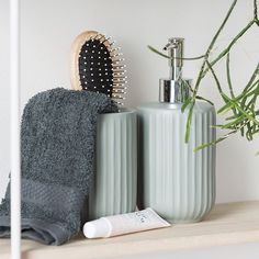 Anna is really fond of calm pastel colours for the bathroom decor which is why she has chosen a greenish grey for her soap dispenser. . Soap dispenser. Available in black and four different shades of grey. Price per item DKK 3440 / EUR 483 / FO-DKK 4030 / ISK 939 / NOK 4890 / GBP 465 / CHF 622 / SEK 4860 / JPY 538 . Bathroom mug. Available in black and four different shades of grey. Price per item DKK 1990 / EUR 277 / FO-DKK 2331 / ISK 538 / NOK 2990 / GBP 296 / CHF 358 / SEK 2990 / JPY 308… Pastel Colors, Colours, Bathroom Inspo, Toiletry Bag, Shades Of Grey, Soap Dispenser, The Hamptons, Modern Farmhouse, Interior Design