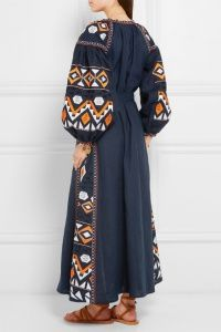 Embroidered Long Tunic Dress with Tassels in Blue Material: Cotton, Linen March 11 Inspired Dresses Long Tunic Dress, Dress Out, Iranian Women Fashion, Ethnic Fashion, White Embroidered Dress, Stylish Dresses For Girls, Embroidery Fashion, Kaftan, Chic Dress