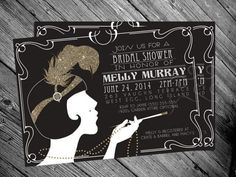 Weddbook is a content discovery engine mostly specialized on wedding concept. You can collect images, videos or articles you discovered  organize them, add your own ideas to your collections and share with other people | 1920\'s Gatsby Flapper Bridal shower Invitation by MrsInvitation, $15.00