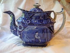 "Staffordshire Teapot, ""Rebecca at the Well"" , James & Ralph Clews, (1834)"