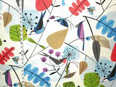 Scandinavian fabric retro modern graphic bird leaves from Brick House Fabric: Novelty Fabric