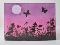 I sponged my card with chalk inks I added a cut out post it note to make the moon then lifted it off at the end. I stamped using versamagic and then embossed in black. Inkadinkadoo-Meadow Set