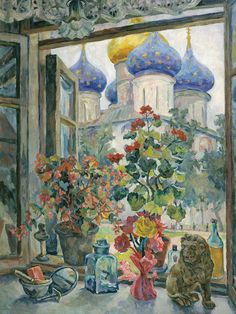 Alexander Osmyorkin - Window view of the Trinity Cathedral. Window View, Window Art, Art And Illustration, Art Illustrations, Light Painting, Painting & Drawing, Russian Painting, Kunst Poster, Arabic Art