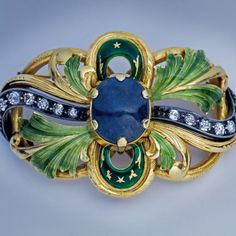 Art Nouveau sapphire, diamond, enamel, gold large brooch pin