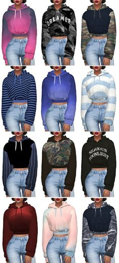 Crop Hoodie Retexture by Kenzar & Lumy-sims the sims 4 roupas Sims Mods, Sims 4 Game Mods, Sims 4 Mods Clothes, Sims 4 Clothing, Sims Games, Clothing Items, Sims 4 Cas, Sims Cc, Mode Outfits
