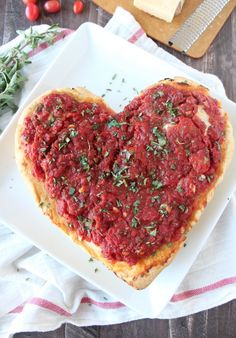 Deep Dish Heart Shaped Pizza Recipe - perfect for Valentine's Day!