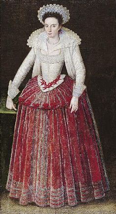 """""""Lady Arabella Stuart"""", Marcus Gheeraerts the Younger. c. 1605-1610. Zoom feature on museum website reveals woven mat, spiderweb lace overlay on the skirt, and elaborately pinked doublet."""