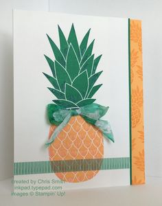 I used a little Dapper Denim over the Emerald Envy on at the base of each leaf and a little Flirty Flamingo on the edge of the Peekaboo Peach.  It doesn't show up real well.  (Tie dyed effect seam binding bow covers up where I didn't make the colors quite meet.)   I really like these new colors!