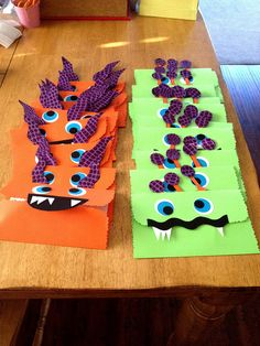 Silly Monster Party Invites.  The mouths of the monsters open up and party details are inside.