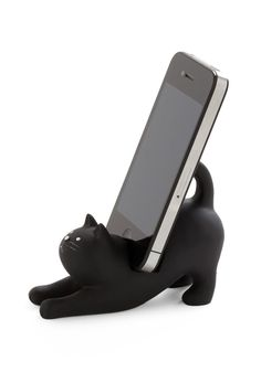 You've Gato a Call Phone Stand. Keep a keen eye on your digital companion by entrusting it to this charming black cat by Japanese Gift Market! #black #modcloth