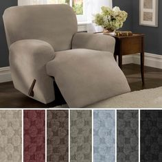 Shop Maytex Stretch Pixel 4 Piece Recliner Furniture Slipcover - On Sale - Overstock - 6226353 Armchair Slipcover, Furniture Slipcovers, Couch Furniture, Furniture Covers, Slipcovers For Chairs, Arm Chairs, Blue Chairs, Living Room Chair Covers, Living Room Chairs